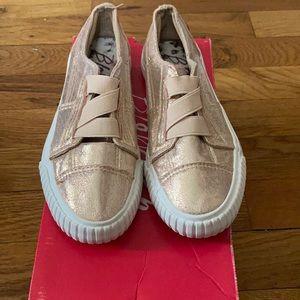 Girls Rose gold slip on sneakers